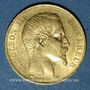 Coins 2e empire (1852-1870). 20 francs, Napoléon III, tête nue 1857A. 900 /1000. 6,45 g