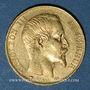 Coins 2e empire (1852-1870). 20 francs Napoléon III tête nue 1857A. (PTL 900/1000. 6,45 g)
