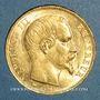 Coins 2e empire (1852-1870). 20 francs Napoléon III tête nue 1857A. (PTL 900 /1000. 6,45 g)