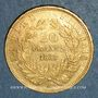 Coins 2e empire (1852-1870). 20 francs Napoléon III tête nue 1857A. (PTL900 /1000. 6,45 g)