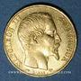 Coins 2e empire (1852-1870). 20 francs, Napoléon III, tête nue 1858A. 900 /1000. 6,45 g