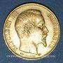 Coins 2e empire (1852-1870). 20 francs, Napoléon III, tête nue 1858A. 900 /1000. 6,45 gr