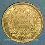 Coins 2e empire (1852-1870). 20 francs Napoléon III tête nue 1858A. (PTL 900/1000. 6,45 g)