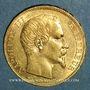 Coins 2e empire (1852-1870). 20 francs Napoléon III tête nue 1858A. (PTL 900 /1000. 6,45 g)