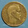 Coins 2e empire (1852-1870). 20 francs Napoléon III tête nue 1860A. 6/5. (PTL 900 /1000. 6,45 gr)