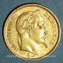 Coins 2e empire (1852-1870). 20 francs tête laurée 1865BB. Strasbourg. 900 /1000. 6,45 gr