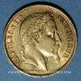Coins 2e empire (1852-1870). 20 francs tête laurée 1866BB. Strasbourg. 900 /1000. 6,45 gr