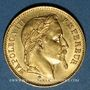 Coins 2e empire (1852-1870). 20 francs tête laurée 1869BB. Strasbourg. Petit BB. 900 /1000. 6,45 gr