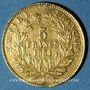 Coins 2e empire (1852-1870). 5 francs tête nue 1854 A. Petit module. Tr. cannelée. (PTL 900‰. 1,612 g)
