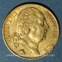 Coins 2e restauration. Louis XVIII (1815-1824). 20 francs buste nu 1818A. 900 /1000. 6,45 gr