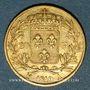 Coins 2e restauration. Louis XVIII (1815-1824). 20 francs buste nu 1819A. 900 /1000. 6,45 gr