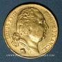 Coins 2e restauration. Louis XVIII (1815-1824). 20 francs buste nu 1822A. 900 /1000. 6,45 gr