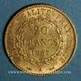 Coins 3e république (1870-1940). 20 francs Génie 1887 A. (PTL 900‰ 6,45 g)