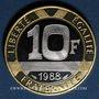 Coins 5e république. 10 francs 1988 Génie de la Bastille. Or jaune 920/1000. Or blanc 750/1000. 12 g.