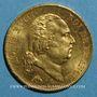 Coins Louis XVIII (1815-1824). 40 francs buste nu 1818W. Lille. (PTL 900‰. 12,90 g)