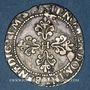Coins Henri III (1574-1589). 1/4 de franc au col plat, 1589 M et point 5e. Toulouse