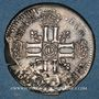 Coins Louis XIV (1643-1715). Sol de 15 deniers surfrappé sur un ancien flan 1693D. Lyon