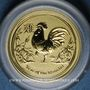 Coins Australie. Elisabeth II (1952- ). 5 dollars 2017. Année du coq. (PTL 999,9‰. 1,55 g)