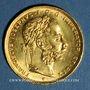Coins Autriche. François Joseph (1848-1916). 8 florins/20 francs 1892. Refrappe. (PTL 900‰. 6,45 g)