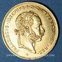 Coins Autriche. François Joseph I (1848-1916). 4 florins/10 franken 1892. Refrappe. (PTL 900‰. 3,22 g)