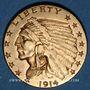 Coins Etats Unis. 2 1/2 dollars 1914. Tête d'indien. (PTL 900/1000. 4,18 g)