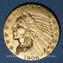 Coins Etats Unis. 5 dollars 1908. Tête d'indien. (PTL 900/1000. 8,36 g)