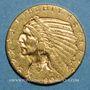 Coins Etats Unis. 5 dollars 1909 D. Denver. Tête d'indien. (PTL 900‰. 8,36 g)