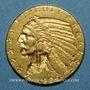 Coins Etats Unis. 5 dollars 1909. Tête d'indien. (PTL 900‰. 8,36 g)