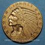 Coins Etats Unis. 5 dollars 1909. Tête d'indien. (PTL 900/1000. 8,36 g)