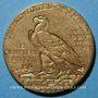 Coins Etats Unis. 5 dollars 1910. Tête d'indien. (PTL 900‰. 8,36 g)