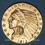 Coins Etats Unis. 5 dollars 1913. Tête d'indien. (PTL 900/1000. 8,36 g)