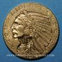 Coins Etats Unis. 5 dollars 1914. Tête d'indien. (PTL 900/1000. 8,36 g)