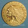 Coins Etats Unis. 5 dollars 1915. Tête d'indien. (PTL 900‰. 8,36 g)
