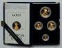 Coins Etats Unis. Série de 4 monnaies d'or en flan bruni (American Eagle Gold), 5, 10, 25, 50 dollars 1988