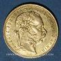 Coins Hongrie. François Joseph I (1848-1916). 20 francs / 8 florins 1880KB. 900 /1000. 6,45 gr