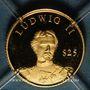 Coins République du Libéria. 25 dollars Louis II 2000. (PTL 999/1000. 0,73 g)