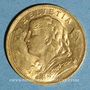Coins Suisse. 20 francs Vrenelli 1922B. (PTL 900‰. 6,45 g)
