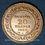 Coins Tunisie. Mohammed El Hadi, bey (1320-1324H = 1902-1906). 20 francs 1321H/ 1903 A. (PTL 900‰. 6,45 g)