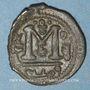 Coins Syrie. Monnayage arabo-byzantin. Umayyades. Epoque Mu'awiya (41-60H). Fals bilingue, Damas