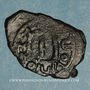 Coins Syrie. Monnayage pseudo-byzantin (638-c.670). Follis, figure impériale tenant une longue croix