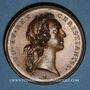 Coins Louis XV. Déclaration de la maladie du roi le 17 août 1744 à Metz. Médaille cuivre. 41,7 mm