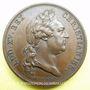 Coins Pose de la 1ère pierre de la nouvelle église de Saint-Germain 1766. Médaille cuivre 41 mm, Duvivier