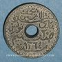 Coins Tunisie. Mohammed al -Amine, bey (1362-76H). 20 cmes 1945. Essai piéfort