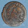 Coins Comtat Venaissin. Urbain VIII (1623-1644). Au nom de Antoine Barberini. Double tournois 1636