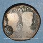 Coins Auguste & Agrippa. Dupondius. Nîmes, 16-10 av. J-C. Contremarqué DD de part et d'autre d'un palme