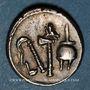 Coins Jules César (100-44 av. J-C). Denier à l'éléphant, Italie, 49 av. J-C. R/: simpule, aspersoir, ...