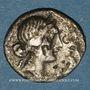 Coins Jules César (100-44 av. J-C). Denier. Afrique du Nord, 47-46 av. J-C. R/: Enée nu marchant à gauche