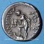 Coins Jules César (100-44 av. J-C). Denier émis par A. Alliénus, Sicile, 47 av. J-C. R/: Trinacus. R ! R !