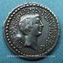 Coins Marc Antoine et Octave. Denier. Rome 41 av. J-C. R/: tête d'Octave