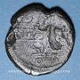 Coins Octave et César. Dupondius. Lyon, vers 36 av. J-C. R/: proue de navire